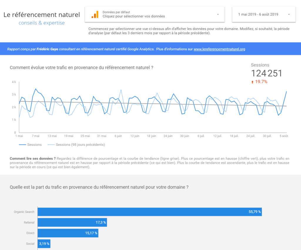 Rapport d'audience via Google Analytics en provenance des moteurs de recherche